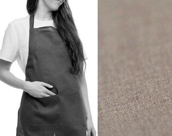 Earth grey linen apron Full apron