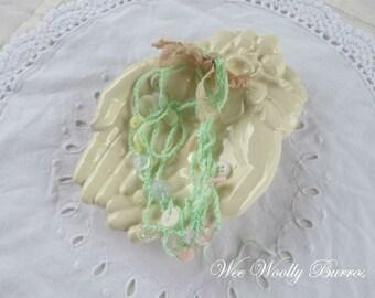 Mini Button Garland, Mint Green Crochet Button Garland by WeeWoollyBurros