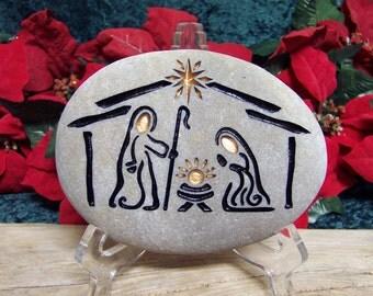 stone nativity set engraved natural rock by sandstudios on etsy. Black Bedroom Furniture Sets. Home Design Ideas