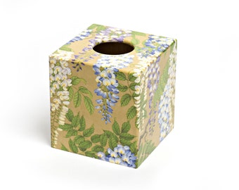Wisteria Tissue Box Cover wooden handmade