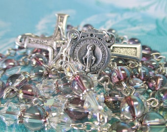 Handmade Rosary, Swarovski Crystal Globe Beads, Lilac Shadow, Round Miraculous Medal Center, Sleek Simple Crucifix