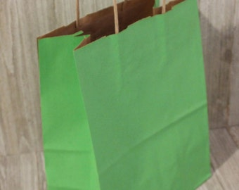 60 Lime Green paper bags great for gifts boutiques - kraft cub size