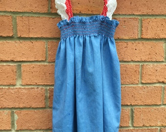 Vintage Hand Crafted Chambray Jumper Dress