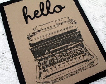 Greeting Card, Masculine Greeting Card, Hello Card, Typewriter Card, Kraft Brown and Black Greeting Card