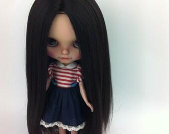 Make to order/Doll hair/ Hair Blythe doll/ Nature Black suri alpaca hair/ Re-Root scalp  for Blythe Doll  hair 14-15 inches