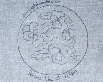 Pansies on the Round  - Original Hand Drawn Rug Hooking Pattern on Choice of Foundation