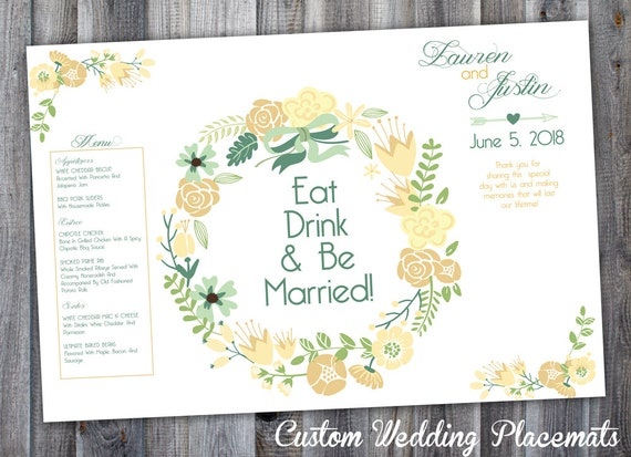15 personalized wedding placemats personalized with your names colors wedding menus custom placemats paper placemat