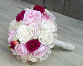 Fabric Bridal Bouquet, Romantic Rose Bouquet, Ivory, White, Pink, Fuscia, Peach Flower Wedding bouquet, Bridal  Bouquet,