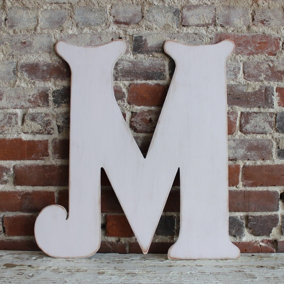 """24"""" Wooden Letter M, Elegant Font, Distressed, Modern Rustic- all letters available in many colors"""