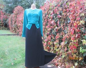 Long Skirt / Skirt Maxi / Black Long Skirt / Skirt Vintage / Long Pencil Skirt / Size EUR44 / 16 / For Tall / Black Skirt Maxi