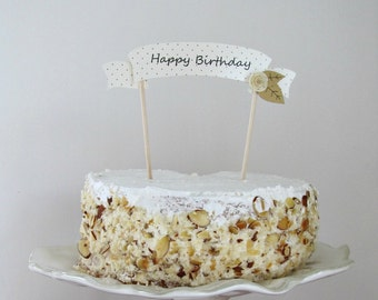 Birthday cake topper Happy birthday cake topper paper cake topper banner cake topper