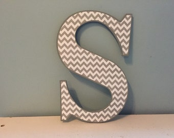 "Grey and white chevron ""S"" wall letter/ custom wall letter decor"