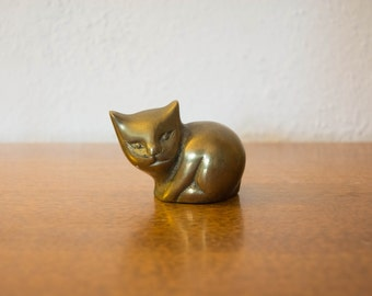 Small Brass Cat - Feline Figurine - Little Kitty