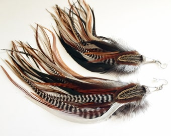 Big Feather Earrings Full Brown Goddess Jewelry Boho Hippie Rooster Feather Earrings Long (limited edition)