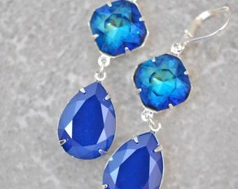 Bermuda Royal Blue Earrings Swarovski Crystal Blue Bridesmaid Earrings Wedding Jewelry Something Blue Royal Blue Shint Dangle Drop Clip On