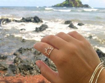 Gold Sun Ring, Sunrise, Sunset, Sunshine, Handmade Maui Jewelry, Metalwork, Boho Fashion,  Gift Idea, , Rings