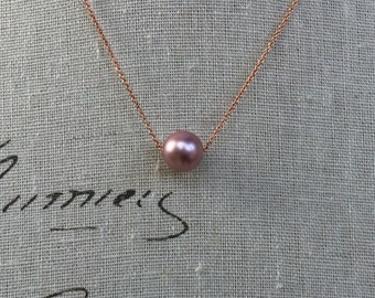 With or without bridesmaid card powder rose pearl on rose gold filled chain pearl perfect for your bridesmaid gift