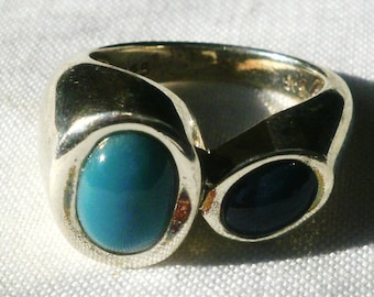 Sterling Silver Blue Stone Ring-Size 7