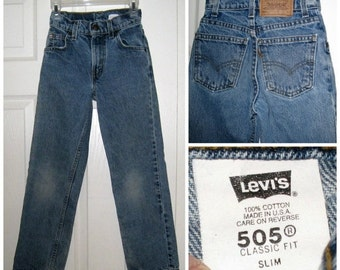 Vintage Boy's Levi's 505 Orange Tab, 5 Pocket Jeans / Size 9 Slim / Classic Fit / Faded Knees / Made In USA