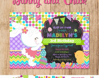 BUNNY and CHICK invitation - YOU print