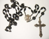 Sterling and Black Glass Rosary,  Understated Unusual Beads