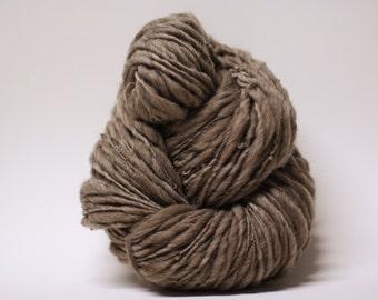 Thick and Thin Handspun Yarn Wool Merino Slub TTs(tm) Bulky  Dark Taupe 160x Half-pounder
