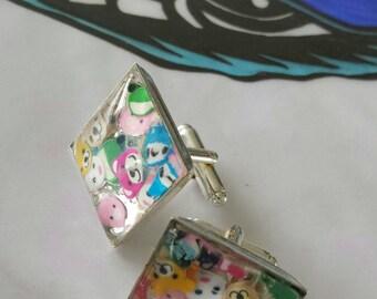 Sale was 16 now 14uk Cute Cartoon faux Milli Fiori square silvertone Cuff links