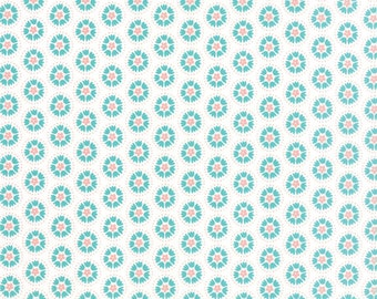 Lil' Red Spinning Tulips in Turquoise on Cloud White, Stacy Iest Hsu, 100% Cotton, Moda Fabrics, 20505 11
