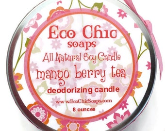 Deodorizing Soy Candle  - Mango Berry Tea - Soy Candle - 8 ounce tin - Highly Scented - Environmentally Safe - FAVORITE CANDLE