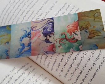 Sailor Moon Inner Senshi Bookmark, Anime Manga Illustrated Paper Bookmark