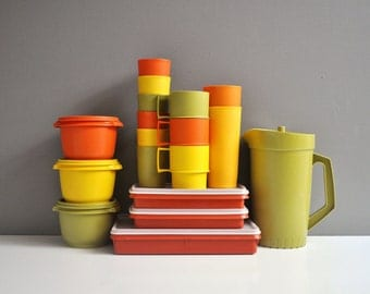 Vintage Collection of Tupperware Containers and Tumblers