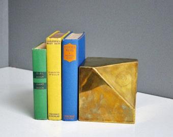 Vintage Brass Geometric Bookend or Doorstop
