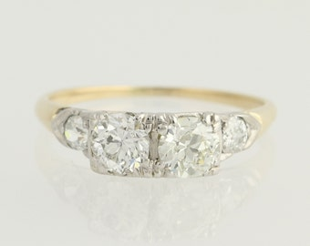 Art Deco Diamond Engagement Ring - 14k Yellow & White Gold European Cut 1.06ctw Unique Engagement ring N424