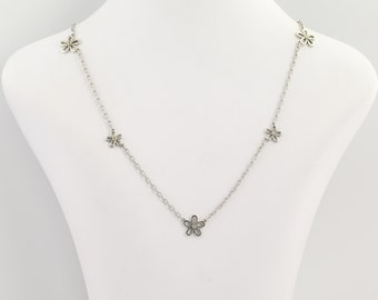 Flower Blossom Necklace - Sterling Silver & 18k Gold Diamond-Accented .10ctw N1657
