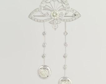 Convertible Diamond Brooch / Pendant - 18k White Gold High Karat Genuine 3.44ctw L6585