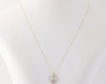 """Diamond Fleur De Lis Heart Pendant Necklace 10k Yellow Gold 17.5"""" Fine Chain q1935"""
