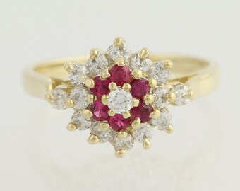 Synthetic Ruby & Cubic Zirconia Cluster Ring - 10k Yellow Gold Women's 7 1/4 L8954