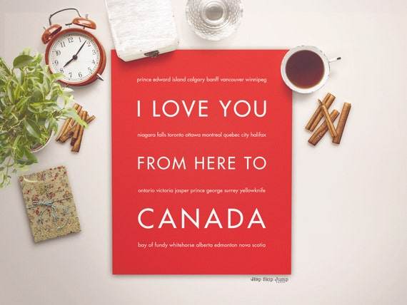 Canada Travel Poster, I Love You From Here To CANADA, Shown in Bright Red - Choose Color, Canvas Poster