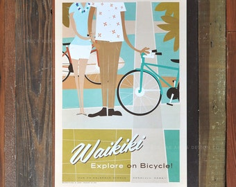 Waikiki - Fun on Kalakaua Ave. - 12x18 Retro Hawaii Travel Print