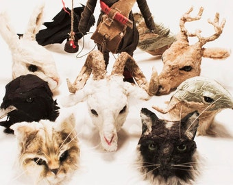 Sculptures of animal heads to put dolls or simply to love them! Animals Arts for Valeria Dalmon