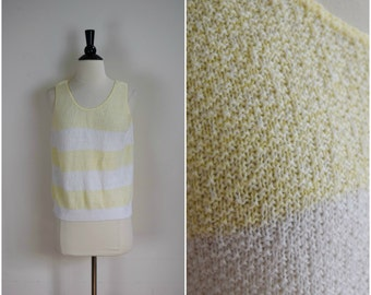 Vintage pale yellow and white striped knit tank / retro sleeveless sweater