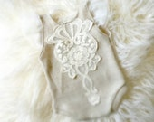 Newborn Neutral Lace Bodysuit, Baby Girl, Clothing, vintage, Lace, Photography Prop, Jumper, Romper,