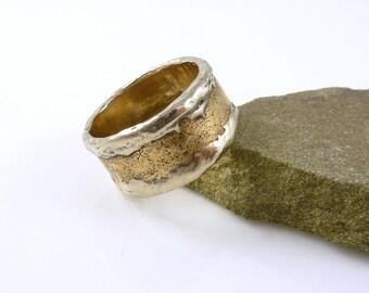 Iced Bronze Ring, Bronze Ring, Textured Bronze Ring, Rustic BoHo Ring