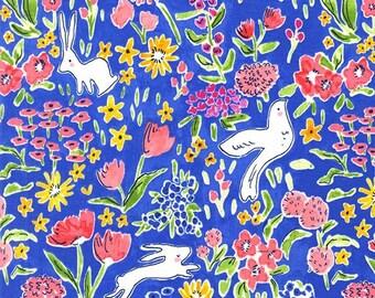 End of Bolt - 1 3/8 yds -Sommer Garden in Blueberry by Sarah Jane for Michael Miller Fabrics