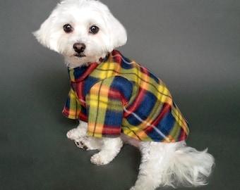 2 Leg Dog Sweater, 4 Leg Dog Sweater, Blue, Yellow and Red Plaid