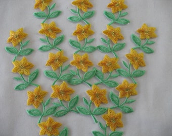 5  EMBROIDERED FLOWER - Iron on in YELLOW