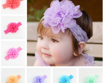 Set of 18 Lace Headband, Chiffon Flower Headband, baby Headband, Girl Headbands, infant Headband, 18 colors to choose, you pick colors