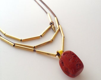 Multi-chain Copper Stone and Gold Necklace - Handmade