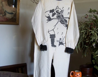 "VTG 1950's Childs Halloween Costume ""Hey Diddle Diddle Cat & the Fiddle"" Flannel"