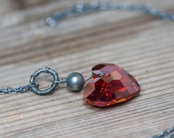 Large Crystal Heart Necklace Red Heart Swarovski Crystal Jewelry Birthday Gift Idea for Her Gift For Wife  Romantic Jewelry Red Magma Heart